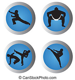 martial arts icons on blue gradient circles on white...