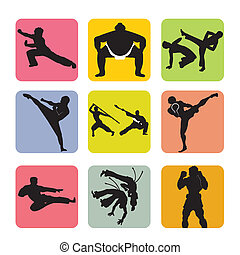 martial arts icons on squares with different color