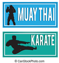 martial arts - muay thai and karate silhouettes on...