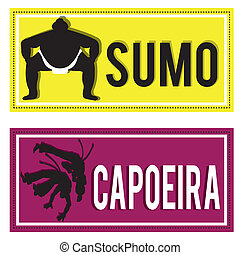 martial arts - sumo and capoeira silhouettes on rectangles...