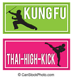 martial arts - kung-fu and Muay thai silhouettes on...