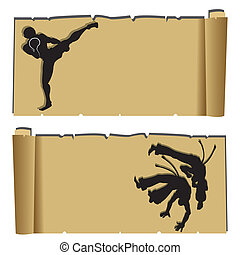 martial arts - muay thai and capoeira silhouettes on...