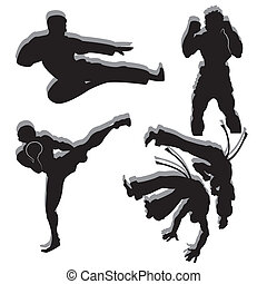 martial arts - different martial arts silhouette on white...
