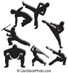 martial arts - different martial arts man silhouette on...