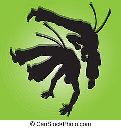 Capoeira man silhouette on special green background