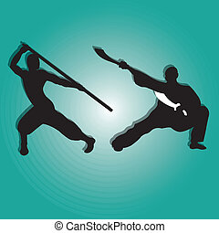 kung fu silhouette on special blue gradient background