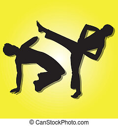 Capoeira silhouette on special yellow gradient background