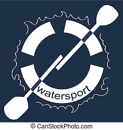 water sport - a white silhouette of a lifesaver in a blue...