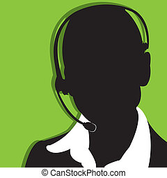 call center - abstract business woman silhouette on green...