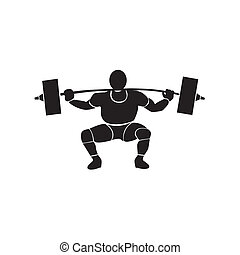 weightlifting - a black silhouette of a man with muscles...