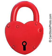 Red Heart Lock Padlock Romance Love Valentine Day Concept,...
