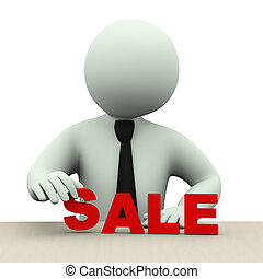 3d business man with word sale