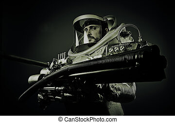 Pilot, fantasy warrior with huge space weapon