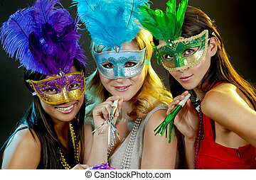 group of women partying - beautiful three women having fun...