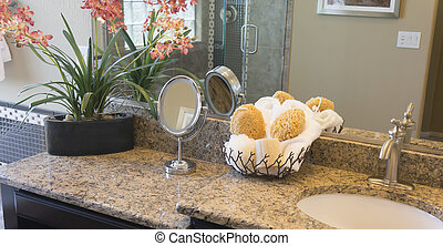 Granite bathroom counter and vanity mirror in home or hotel