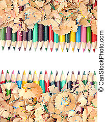 Colorful pencil with colorful pencil shavings on white...
