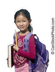 Education - A young girl is ready for school Education,...
