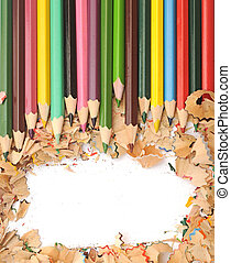 Colorful pencil border colorful pencil shavings on white...