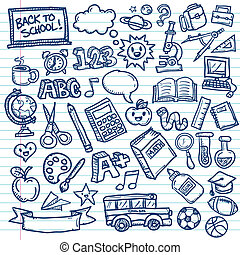 School Freehand Doodles - Set of vector freehand drawings of...
