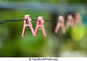 clothes peg - Pink clothes peg on a clothesline