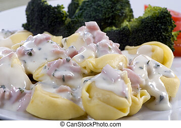 Tortellini with cream sauce - A healthy plate of tortollini...