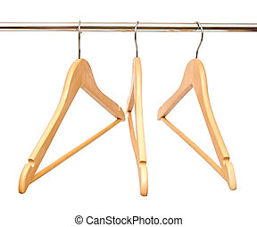 Group of empty wooden hangers isolated on white background