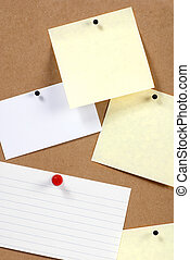 Bulletin Board - notes stuck to a bulletin board ready to...