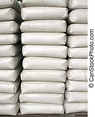 Pile of white plastic sacks