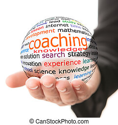 Concept of coaching in learning - Transparent ball with...
