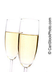 Sparkling wine - Two glasses of sparkling wine with a red...