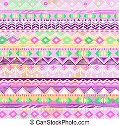 Neon pink tribal stripe print - seamless vector background