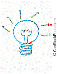 social network, communication in the global networks with idea