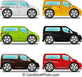 Cartoon minivan with big wheels, six different colors.