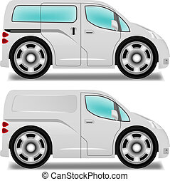 Cartoon minibus and delivery van with big wheels