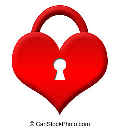 Red Heart Shape Lock - Locked - Heart shape with keyhole and...