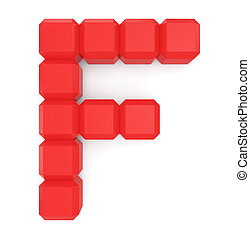 letter F cubic red