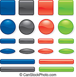 Set of button different form - Set of button four colors of...