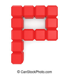 letter P cubic red