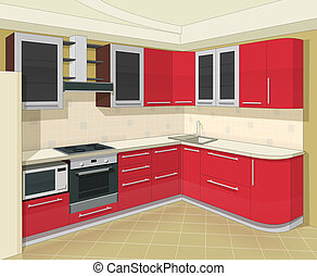 kitchen interior with furniture vector illustration EPS10...