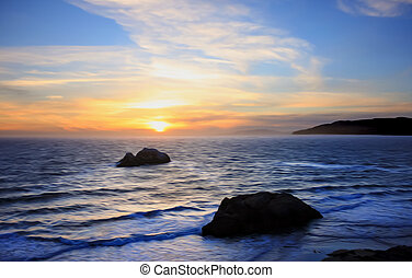 Pacific coast at sunset