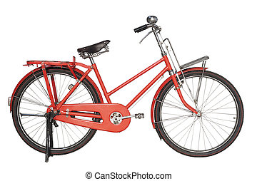 Vintage red bicycle isolated on white background
