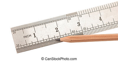 steel ruler and wood pencil on white