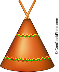 Wigwam, Indian teepee in brown design on white background