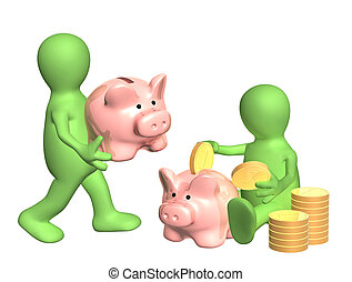 Puppets with piggy banks and coins Isolated over white