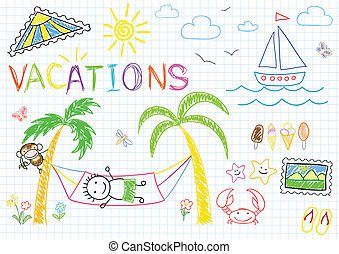 Vacations. Sketch on notebook page
