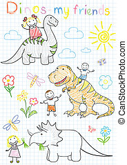 Vector sketches happy childrens and dinosaurs Sketch on...