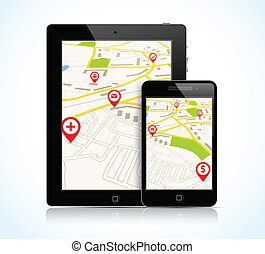 Tablet pc and phone with navigation map