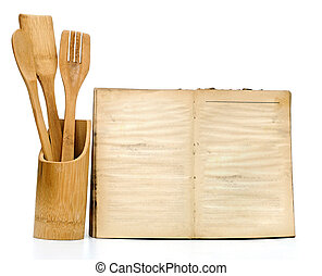 Wooden cooking utensils on white background add your own...