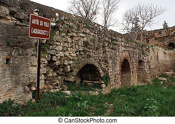Aquaduct - Old aquaduct andwall in Iznik, Turkey...