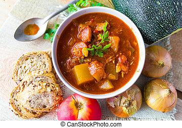 stew zucchini stewed vegetables meat food meal vintage -...